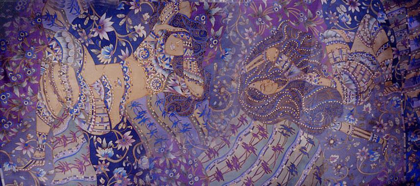 Один из вариантов - платки и шарфы в технике батик, которые продают.